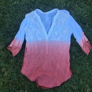 Anthropologie pink and white ombré shirt