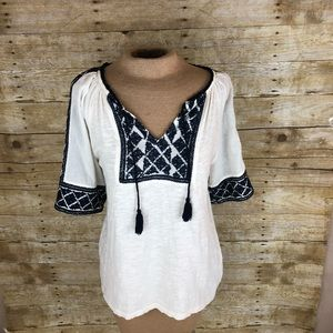 Lucky Brand Peasant Top Embroidered Hippie Sz M