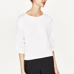 Zara off-white smocking sleeve T-shirt