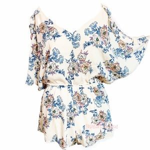 New~ Strappy Off The Shoulder Floral Romper