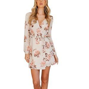 Deep V-neck Sexy Floral Print Wrap Mini Dress