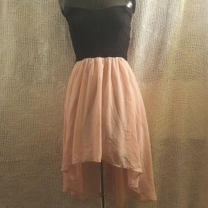 Black Stretchy Dress Peach Pink High Low