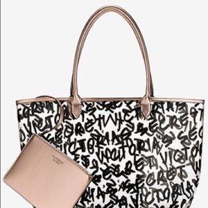 ~ VICTORIA'S SECRET Graffiti Tote Bag with Pouch