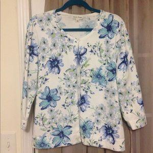 Studio Works Blue White Floral Cardigan 3/4 Sleeve