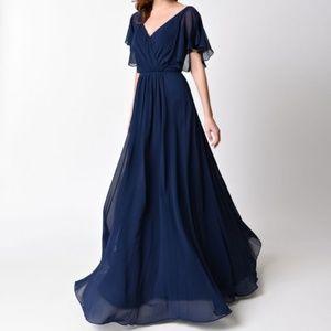 Navy Flowy Dress (Bridesmaid or Prom)