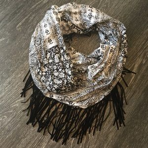 Infinity Scarf with Suede Fringe