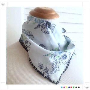 Vintage Blue Floral Scarf, Head Scarf / Neck Scarf