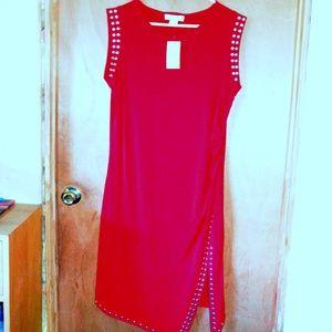 Michael Kors NWT Red Stud Silver Dress 1X Blaze