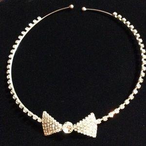 New Rhinestone Bow Tie Necklace