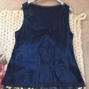 The Limited 100% Silk Midnight Blue blouse, XL
