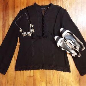 🆕💁🏼NY&Co. Black Sheer L/S Blouse- Lace & Velvet