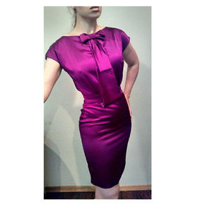 "Zac Posen ""African Violet"" Purple Bow Pencil Dress"