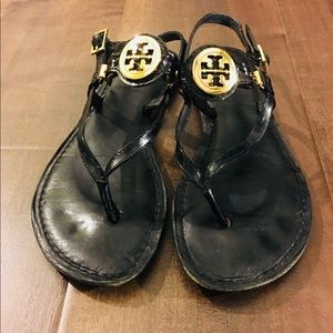 Tory Burch Black Thong Sandals with Logo
