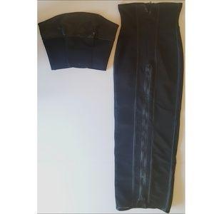 Catherine Coatney Black Mesh Top and Skirt Set