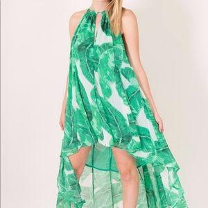 Olivaceous banana leaf palm hi low dress