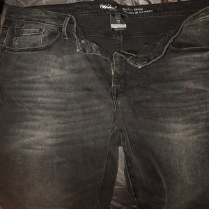 New black washed denim pants