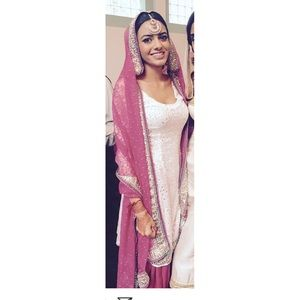 Pink and white Indian suit