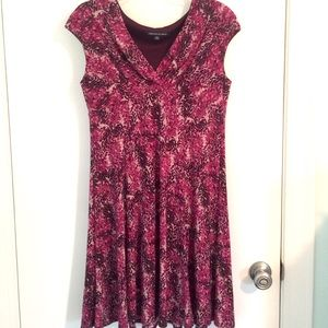 Jones Wear Burgundy Print Dress with Cap Sleeves