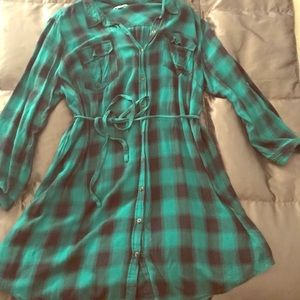 Green Flannel Shirt Dress by Ava N Viv