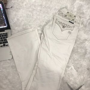 Miss Me boot white silver bling crystal jeans 27