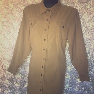 Eddie Bauer XL Corduroy Button Down Shirt Dress
