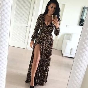 Deep V neck low cut slit leopard print maxi dress