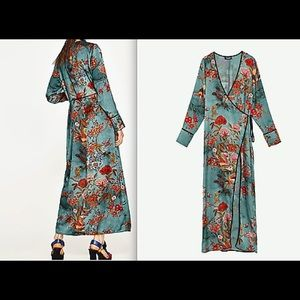 Zara silky robe dress