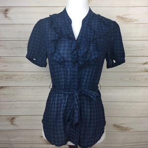Plaid Fossil Ruffle Blouse