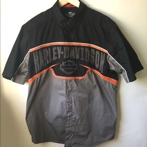 Men Harley Davidson Mechanic Black Orange Shirt L