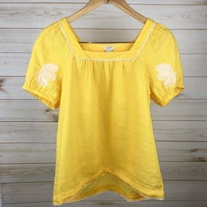 J. Crew Linen Yellow Embroidered Top