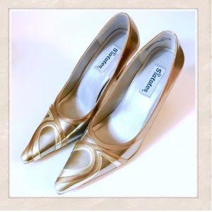 Fab Faux Leather Bronze Heels! 7.5