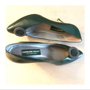 Gorgeous Vintage Leather Closed Toe Green Heels, 8