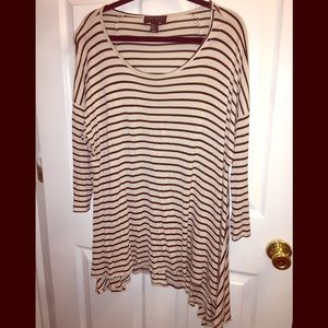 Forever 21 Cream and Black Striped High Low Shirt