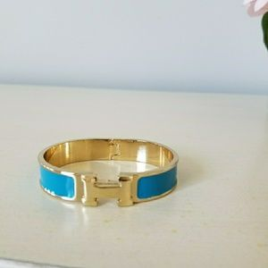 H Clic bracelet gold and teal