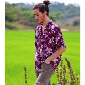 Men's Floral Short Sleeves Shirt