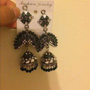 Green and silver indian earrings