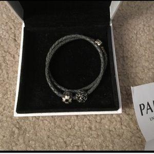 Pandora set leather double wrap and 2 beads