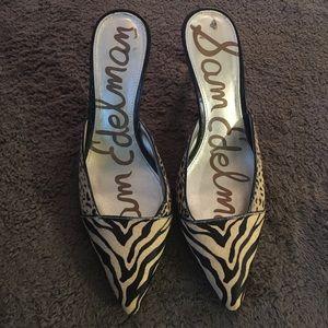 Sam Edelman leopard cow hide slip on heels.