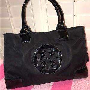 Tory Burch Ella Nylon  Logo Tote Bag Black