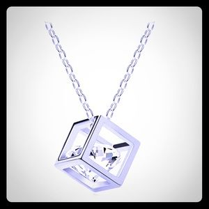 NEW crystal rhinestone square pendant necklace