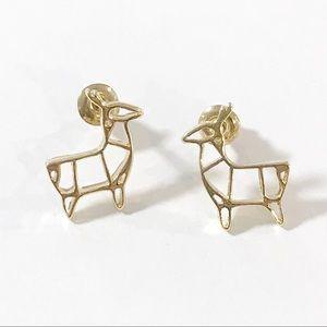 NEW Golden Origami Deer Earrings