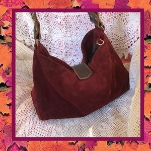 Tylie Malibu Suede Burgundy Embellished Bucket Bag