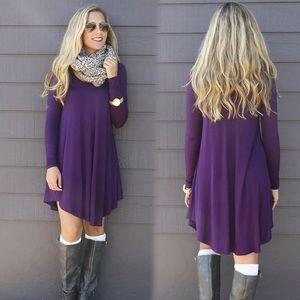 Purple Long Sleeve Fall Dress