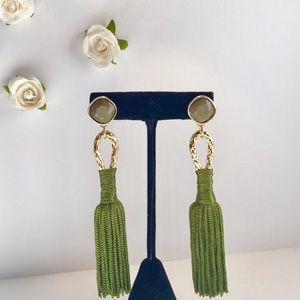 NEW Hottest Trend 💚💛Green & Gold Tassel Earrings