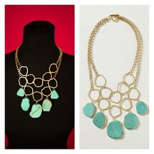 Anthropologie Hammered Turquoise Bib Necklace Gold