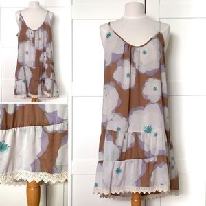 NWT Boutique Boho Tiered Floral Slip Dress