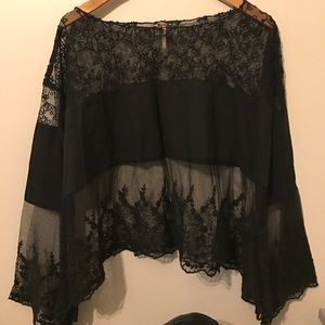 XS Black lace FREE PEOPLE sheer lace top
