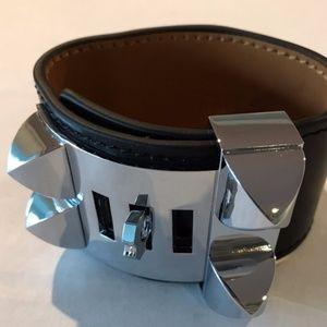 Black Leather Cuff CDC Collier De Chien Style