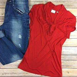 Anthropologie Postmark bright red top