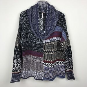 [Free People] Patchwork Cowl Neck Sweater Boho L